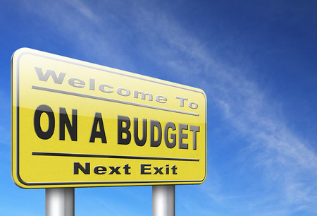 deficit: Budgeting the income for deficit or living on a budget with a restricted amount of money. Household budget Average revenue and expediture. Stock Photo