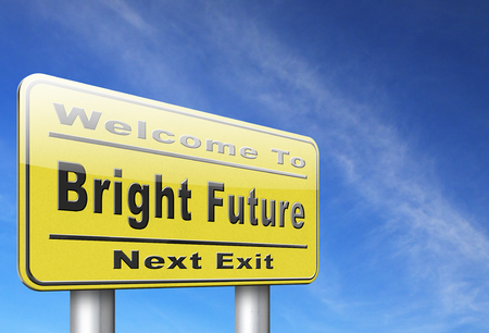 brigth: bright future ahead road sign indicating direction to planning a happy future having a good plan billboard Stock Photo