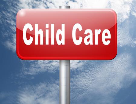 creche: cuidado de niños en la guardería o guardería de niñera o au pair o niñera crianza de protección contra el abuso infantil, cartelera señal de tráfico.