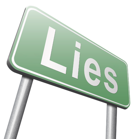 lies: Lies breaking promise break promises cheating and deception lying, road sign billboard. Stock Photo