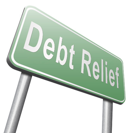 housing crisis: Debt relief after bankruptcy caused by credit or housing bubbles, restructuring finance after economic or bank crisis, road sign billboard.