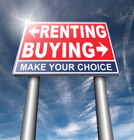 owning: rent or buy mortgage for bank loan for home ownership renting or buying and owning house a flat building or property road sign arrow