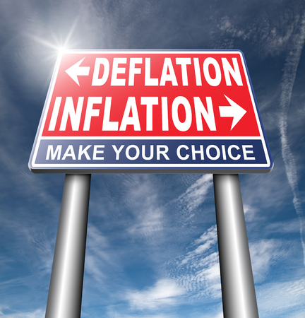 economic recession: inflation deflation bank crisis or financial and economic recession or stock market crash or rise road sign arrow Stock Photo