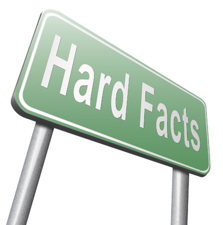 fact: hard facts or proof, scientific proven fact, road sign billboard. Stock Photo