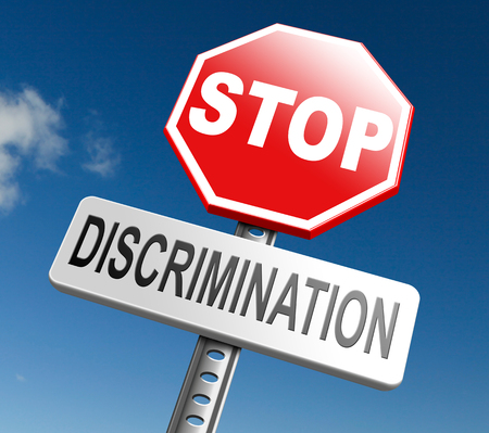 homophobia: stop discrimination equal rights equality no racism based on age race or ethnicity gender no homophobia  Stock Photo