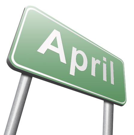 next year: april spring month event calendar, roas sign billboard.
