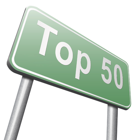 top 50 charts list pop poll result and award winners chart ranking music hits best top fifty quality rating prize winner road sign Stock Photo