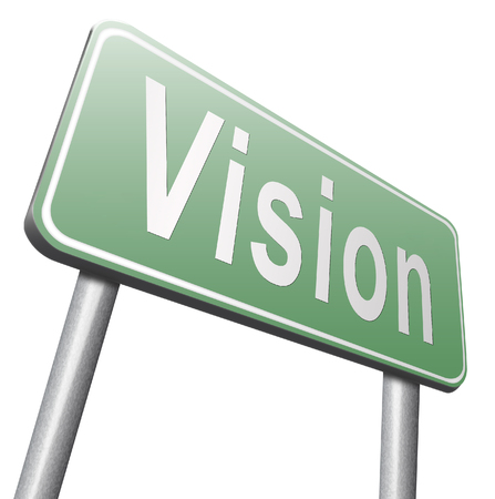 our company: vision or our policy in business strategy or view on the company about us Stock Photo