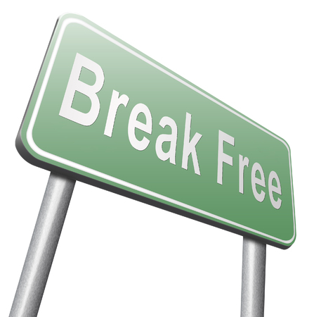 break free: Break free from prison, pressure or quit job, stop running away and go towards stress free world no rules,road sign billboard.