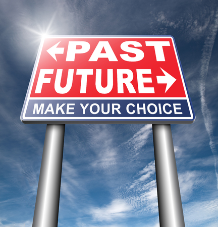 recently: past future prediction and forecast near bright future fortune telling and forecast evolution and progress and innovations Stock Photo