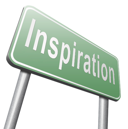 invent: Inspiration get inspired be creative create and invent brainstorm and inspire, search and find inspirations, road sign billboard.