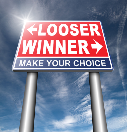 bad fortune: winner looser win or loose the sports game or competition start winning and stop being a looser change your luck sign lottery bingo or casino victory road sign arrow Stock Photo