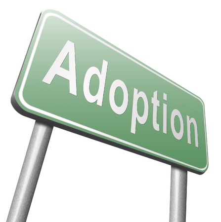 foster parenting: Child adoption becoming a legal guardian and getting guardianship and adopt young baby, road sign billboard.