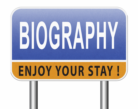 Bio button or biography leading to the story of your life about sign my life story resume Stock Photo