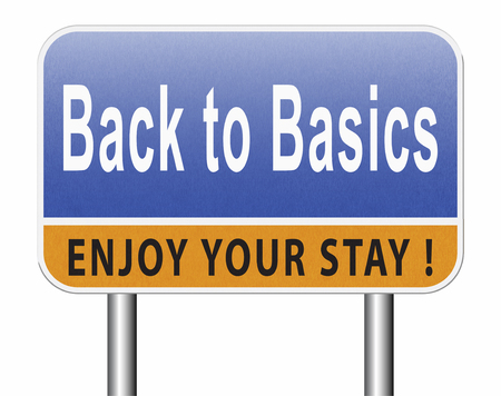 Back to basics to the beginning, keep it simple and basic primitive simplicity, road sign billboard. Stock Photo