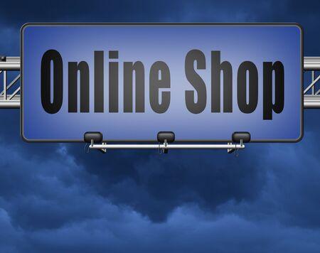 Online shopping internet web shop webshop, road sign billboard.