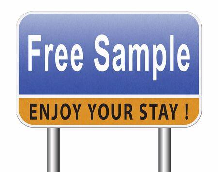 Free product sample offer or gratis download webshop button or web shop, road sign billboard. Stock Photo
