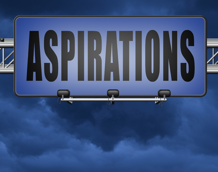 Aspirations and future goals and ambition, achieving target goal. Standard-Bild - 89974166