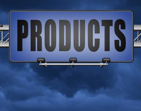 Products for sale at online internet web shop, webshop cataloge road sign billboard Standard-Bild - 89974169