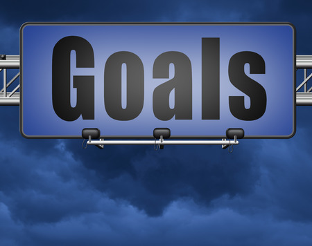 goals, targets and ambition way to success guarantee to reach your goal and go to the top,road sign billboard Standard-Bild - 89974745