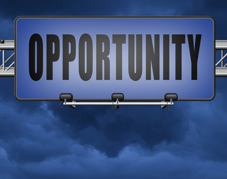 Opportunity chance to follow the road towards success. Standard-Bild - 89974748