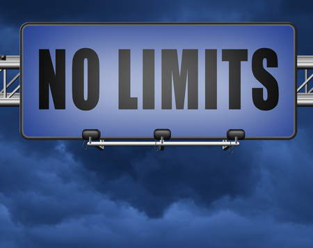no limits or boundaries unlimited and without restrictions road sign billboard Banco de Imagens