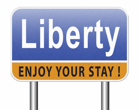 Liberty freedom, democracy and human rights free of speech, road sign billboard.