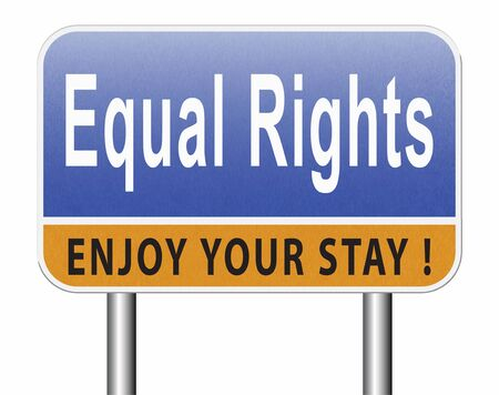 Equal rights no discrimination and same opportunities for all women man disabled black and white solidarity discrimination of people with disability or physical and mental handicap, road sign billboard. Stock Photo