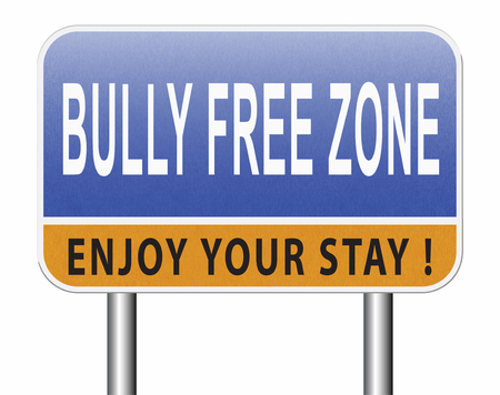 Bully free zone, Stop bullying at school or at work stopping or online. Stock Photo