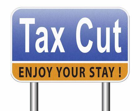 Réduction des taxes, réduction ou réduction des taxes et paiement réduit, panneau d'affichage pour panneaux de signalisation. Banque d'images - 89286354