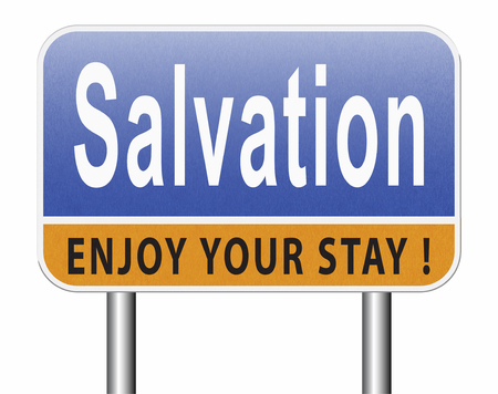 salvation follow jesus and god to be rescued save your soul, road sign billboard. Standard-Bild - 89974175