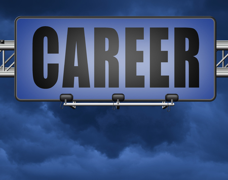 career move and ambition for personal development a nice job promotion or the search for a new job build a career road sign or job billboard Standard-Bild - 89974176