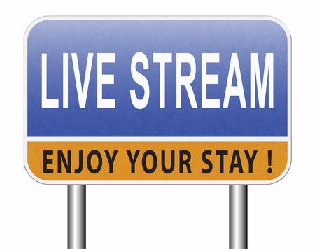 live stream music song audio or listen to radio streaming video road sign billboard Standard-Bild - 89974177