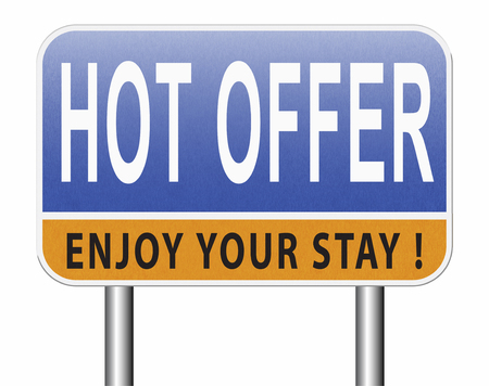 hot offer for online internet web shop concept. Webshop shopping sales sign announcing bargain for low and best price with the best value for you money. Stock Photo