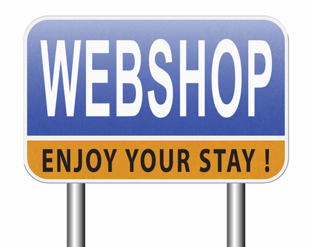 web shop or online shopping sign for internet webshop or store