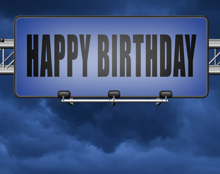 Happy birthday, congratulations and celebrate with a big surprise anniversary party, road sign billboard. Standard-Bild - 89902813