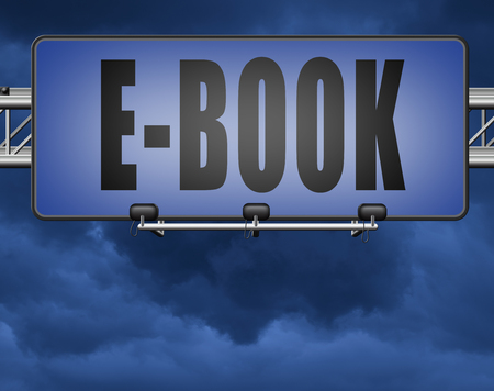 Ebook downloading and read online electronic book or e-book download, road sign billboard. Standard-Bild - 89902815