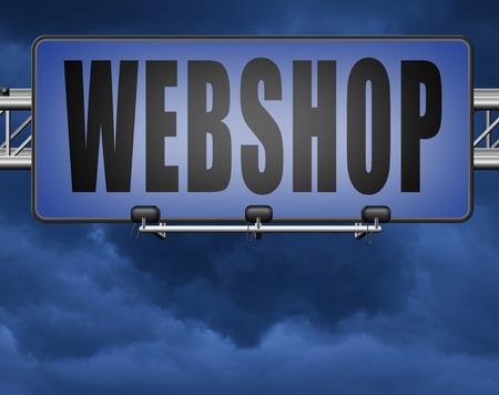 web shop or online shopping sign for internet webshop or store Standard-Bild - 89902827