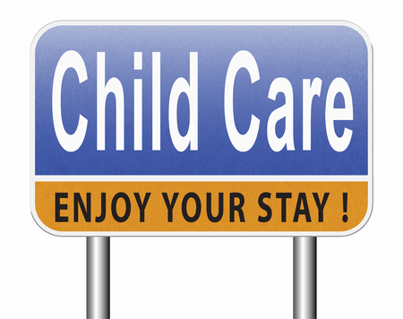 Child care in daycare or creche by nanny or au pair parenting or babysitting protection against child abuse, road sign billboard. Standard-Bild - 89902828