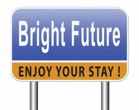 bright future ahead road sign indicating direction to planning a happy future having a good plan billboard Standard-Bild - 89902831