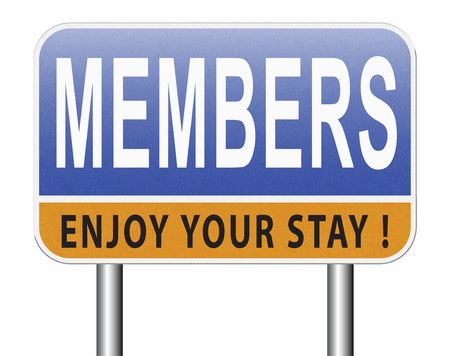 members only road sign billboard become a member and join here to get your membership label. Standard-Bild - 89902842