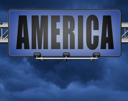 America north america or south  and central america travel vacation and tourism continent, road sign billboard. Standard-Bild - 89902851
