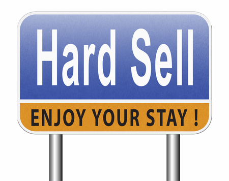 Hard sell, aggressive market strategy with pressure advertising campaign, road sign billboard. Standard-Bild - 89902859