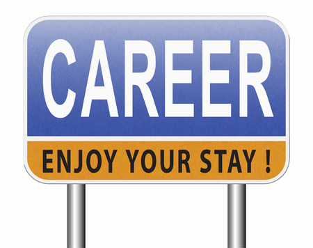 career move and ambition for personal development a nice job promotion or the search for a new job build a career road sign or job billboard Standard-Bild - 89902861