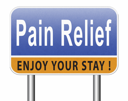 Pain relief or management by painkiller or other treatment of chronic back pain, road sign billboard. Standard-Bild - 89902863