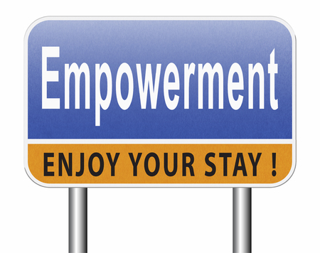 Empowerment, raising consiousness for equal rights and opportunities increasing the spiritual, political, social, or economic strength, raise awareness. Standard-Bild - 89902868