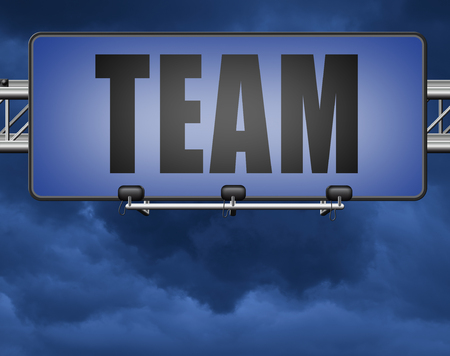 Team for sports at work or business our teamwork about us road sign Standard-Bild - 89902869