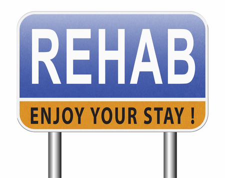 Rehabilitation rehab for drugs alcohol addiction or sport and accident injury physical or mental therapy, road sign billboard. Standard-Bild - 89902872
