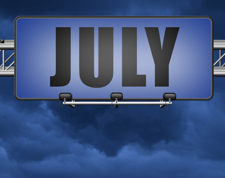 July summer month of the year or event schedule or agenda road sign billboard Standard-Bild - 89902873