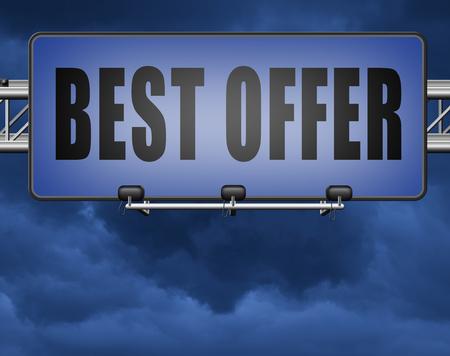 best offer, lowest price and best value for the money. Web shop or online promotion for internet webshop, road sign billboard.